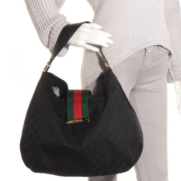 40a6673b Gucci Handbags - 💯% AUTHENTIC GUCCI Large Web Hobo GG Canvas Black